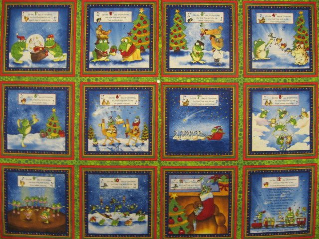 Image 0 of Funny Frogs 12 days of Christmas Fabric Panel to sew //