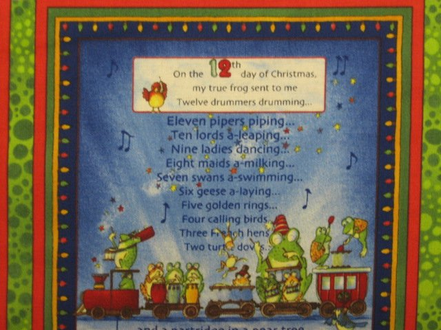 Image 1 of Funny Frogs 12 days of Christmas Fabric Panel to sew //