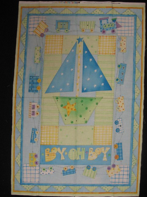 Image 0 of Sailboat and Train Baby Crib Quilt Fabric Throw Panel sew