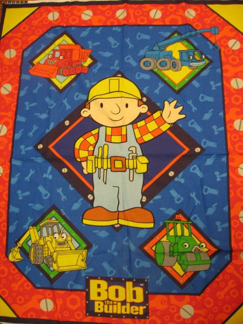 Image 0 of Bob the Builder tools and trucks wall or quilt Fabric Panel to Sew Last one