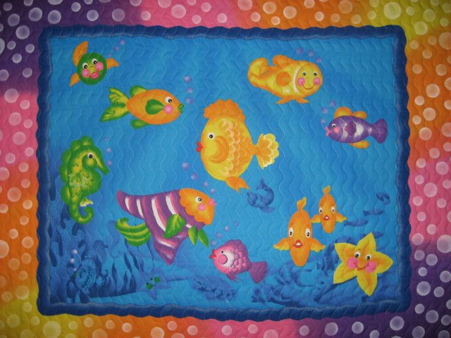 Colorful Fish Seahorse Ocean Crib Quilt with Bubbles border