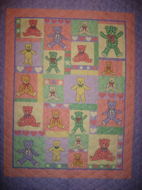 Teddy Bears Squares and Hearts baby Crib quilt