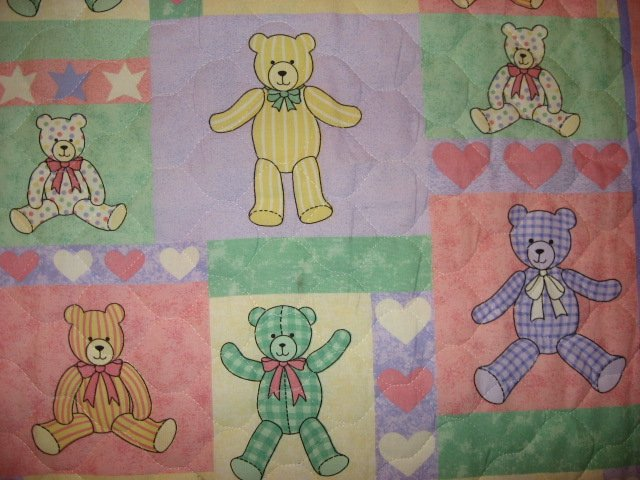 Image 1 of Teddy Bears Squares and Hearts baby Crib quilt