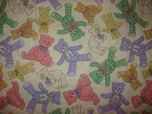 Image 2 of Teddy Bears Squares and Hearts baby Crib quilt