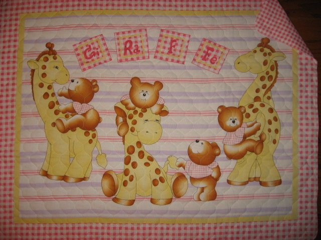 Teddy bear and giraffe baby crib quilt with finished edge new