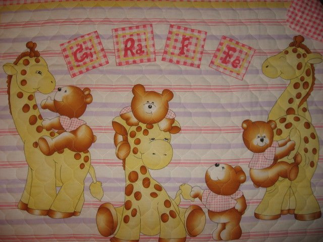 Image 1 of Teddy bear and giraffe baby crib quilt with finished edge new