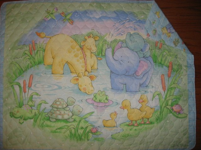 Image 0 of Little Pond Ducks Turtle Giraffes baby Quilted fabric blanket