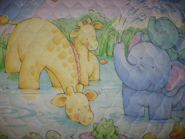 Image 1 of Little Pond Ducks Turtle Giraffes baby Quilted fabric blanket