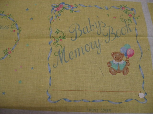 Image 1 of Baby Memory Book Birth Cards Tags Soft Fabric Panel to sew /