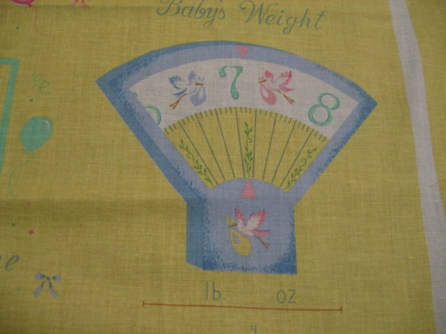 Image 2 of Baby Memory Book Birth Cards Tags Soft Fabric Panel to sew /