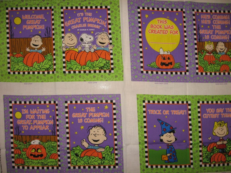 Great Pumpkin Charlie Brown Baby Soft Book Fabric Panel to sew /