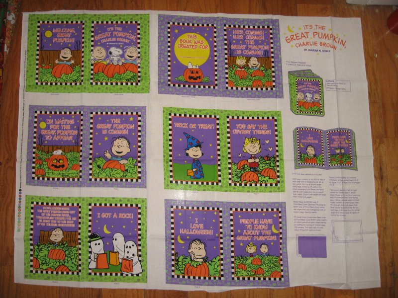 Image 1 of Great Pumpkin Charlie Brown Baby Soft Book Fabric Panel to sew /