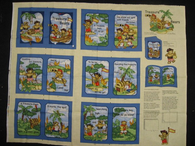 Teddy Bear Pirate treasure chest Fabric Soft Book Quilt or Wall Panel to sew
