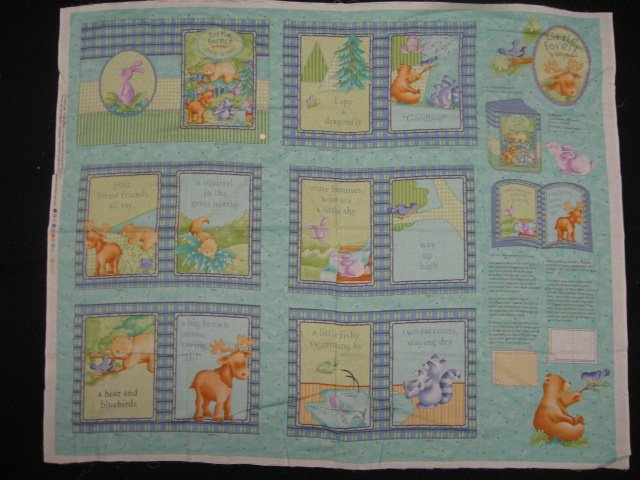 Little Forest Animals Soft Book Fabric Panel to sew /