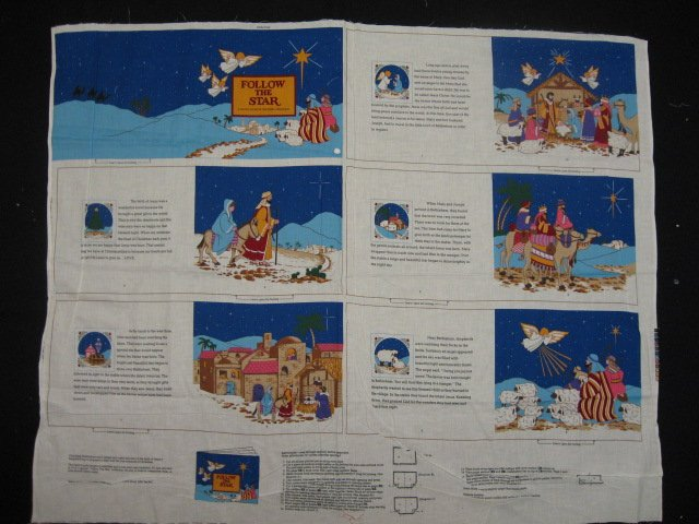 Jesus baby in Bethlehem with Mary Follow the star Fabric Book Panel to sew /