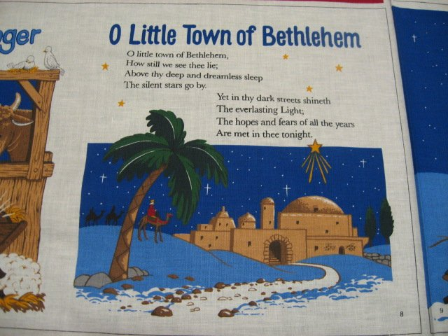 Image 1 of Jesus baby in Bethlehem with Mary Follow the star Fabric Book Panel to sew /