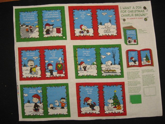 Charlie Brown SnoopyI want a dog for Christmas Soft Book Fabric Panel to sew /