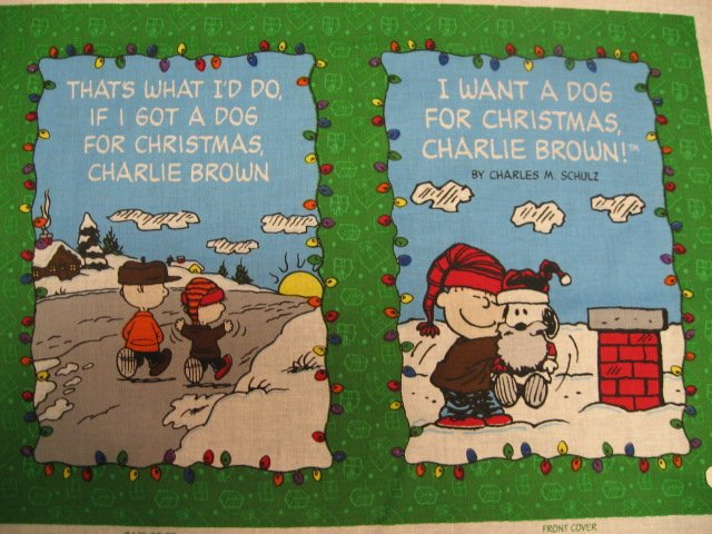 Image 1 of  Charlie Brown SnoopyI want a dog for Christmas Soft Book Fabric Panel to sew /