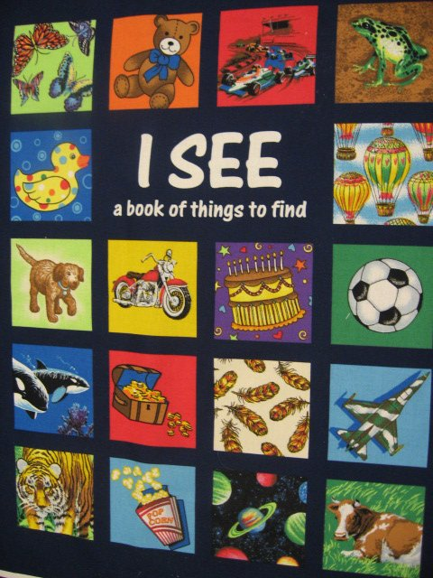 I See Fabric baby Soft Book or Wall Panel to sew Teacher or for quilting /
