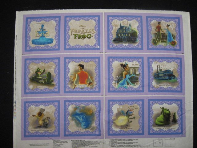 Disney Princess Frog Thomas Kinkade Soft Book fabric Panel to sew /