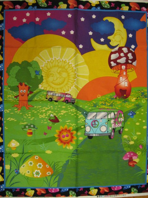 Image 0 of Peace Van Bus and Mushrooms Retro fabric wall panel to sew //