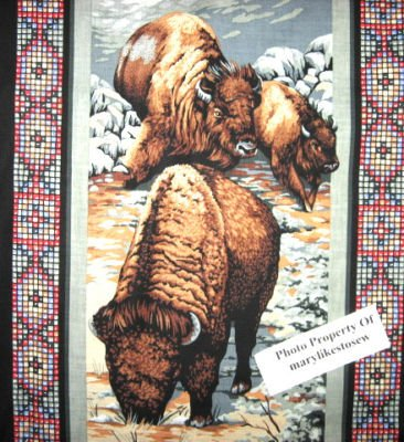 Image 3 of American Indian Chief  vintage rare Southwest horse buffalo Fabric panel to sew