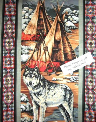 Image 4 of American Indian Chief  vintage rare Southwest horse buffalo Fabric panel to sew