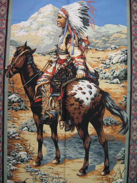 Image 2 of American Indian Chief  vintage rare Southwest horse buffalo Fabric panel to sew
