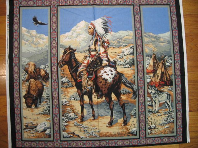 Image 0 of American Indian Chief  vintage rare Southwest horse buffalo Fabric panel to sew