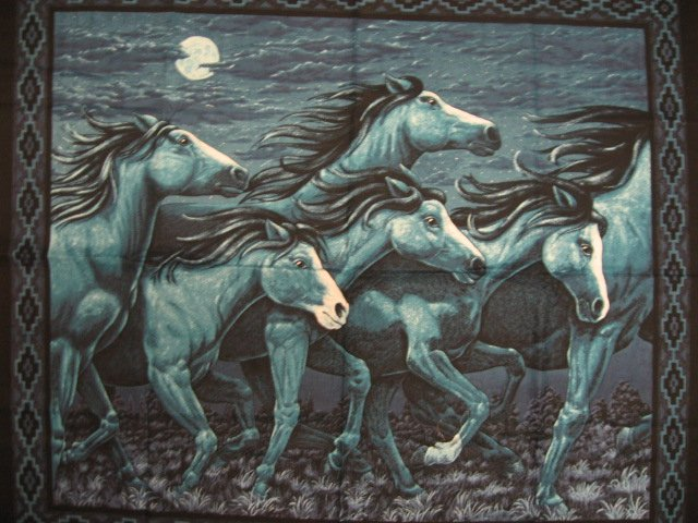 Horses in the moonlight fabric wall panel to sew rare /