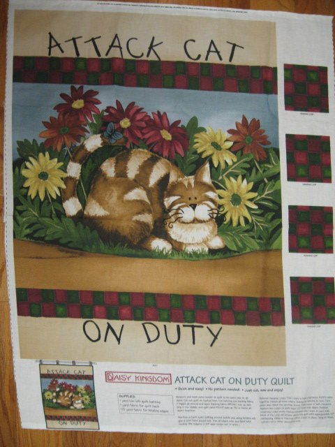 Daisy Kingdom Fabric Panel Attack Cat Animal to Sew garden Flag or Wall Quilt