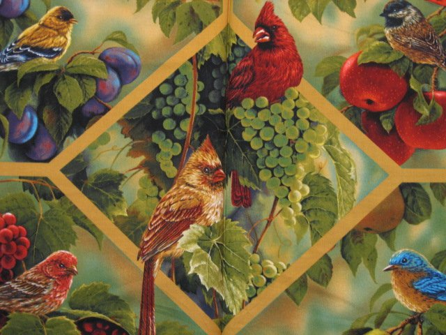 Bird Cardinal 100% cotton Fruit Fabric Wall Panel to sew