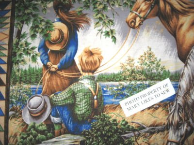 Image 1 of Southwest horses Boy and Girl Flying Geese border pattern Fabric panel to sew //