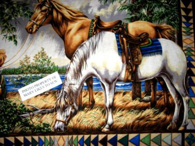 Image 2 of Southwest horses Boy and Girl Flying Geese border pattern Fabric panel to sew //