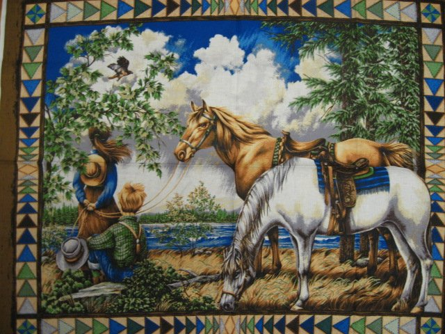 Image 0 of Southwest horses Boy and Girl Flying Geese border pattern Fabric panel to sew //