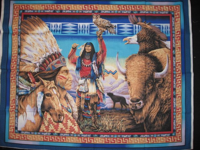 Image 1 of Southwest Indian Buffalo Eagle and Horse Fabric Wall Panel to sew