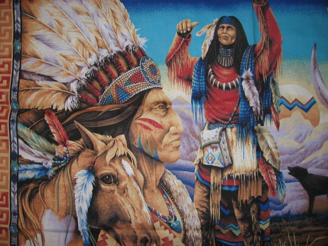 Image 0 of Southwest Indian Buffalo Eagle and Horse Fabric Wall Panel to sew