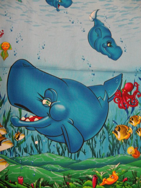 Image 1 of Wyland Whale Fish Sea whimsicle child Fabric Throw Quilt Panel to sew