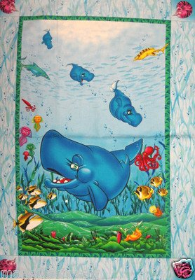 Image 0 of Wyland Whale Fish Sea whimsicle child Fabric Throw Quilt Panel to sew