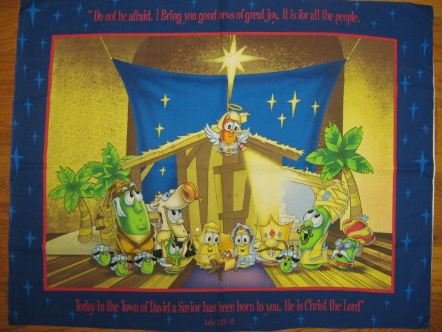 Image 0 of Veggie Tales Christmas Nativity Large Pretty Fabric Panel to sew