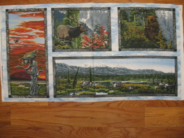 Image 1 of Elk Eagle Bear Deer and mountains Fabric wall Panel four Pictures to sew //