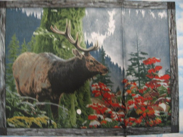 Image 0 of Elk Eagle Bear Deer and mountains Fabric wall Panel four Pictures to sew //