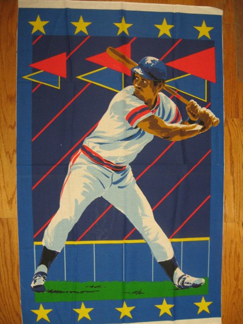 Baseball Player Huge Fabric Throw Quilt Panel to sew