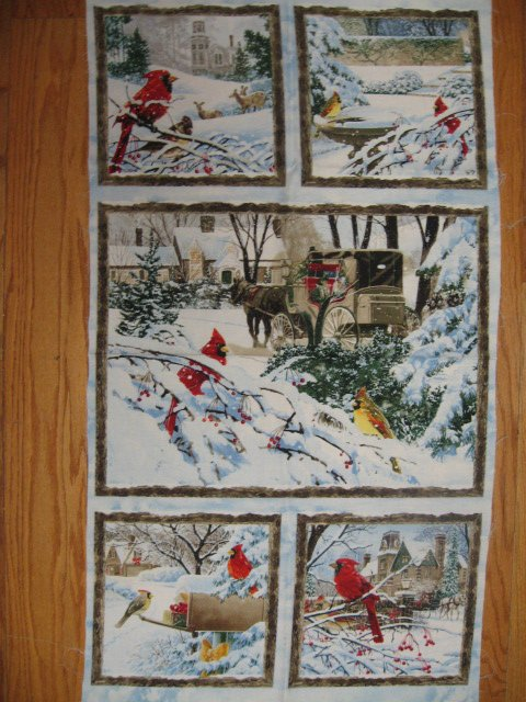 Image 0 of Victorian carriage and Cardinal Birds stunning fabric wall panel to sew //