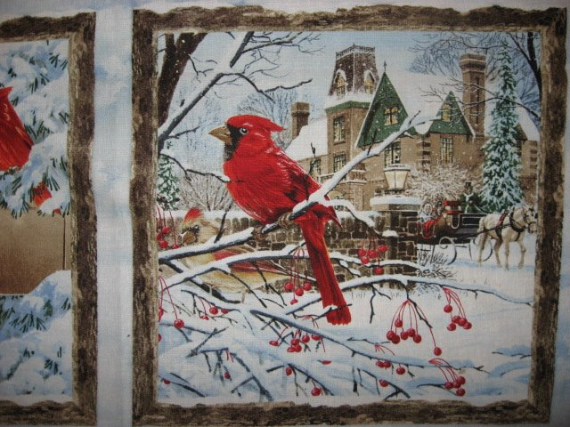 Image 2 of Victorian carriage and Cardinal Birds stunning fabric wall panel to sew //