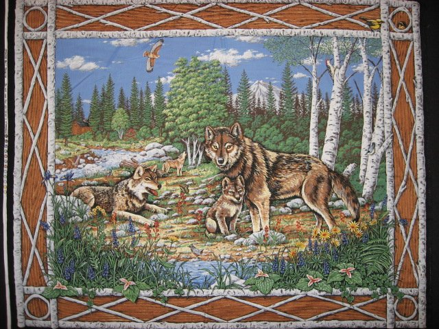 Wolf family and eagle Birch trees fabric wall panel to sew //