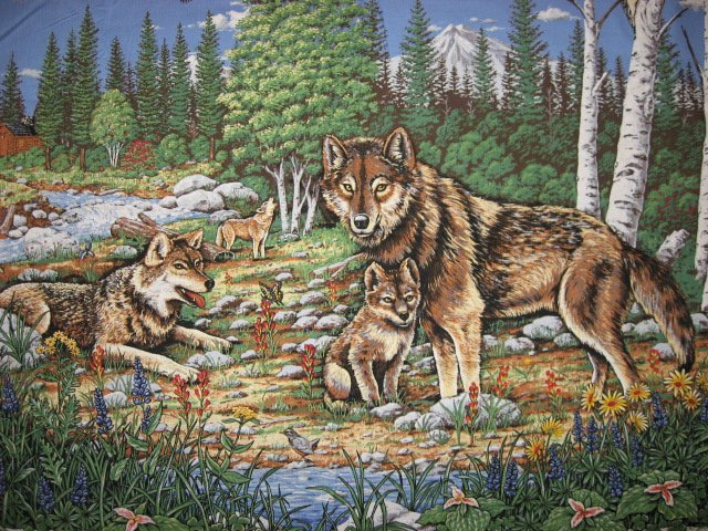 Image 1 of Wolf family and eagle Birch trees fabric wall panel to sew //