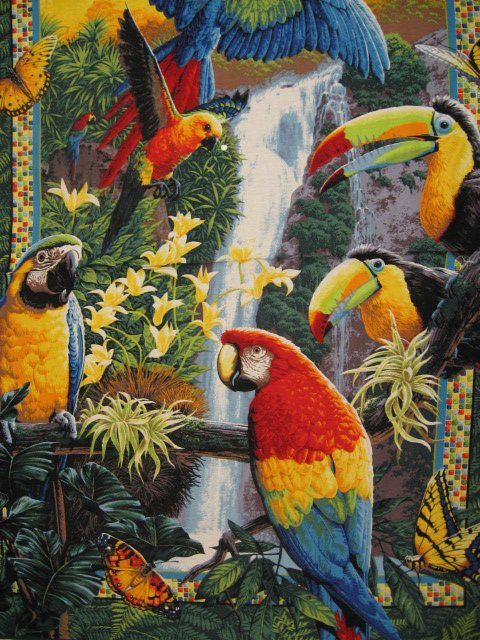 Image 1 of Parrots and tropical butterfly cotton fabric wall quilt throw panel to sew
