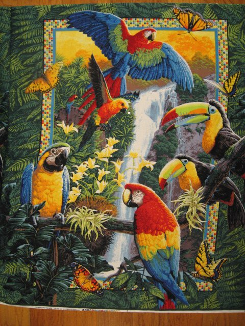 Parrots and tropical butterfly cotton fabric wall quilt throw panel to sew