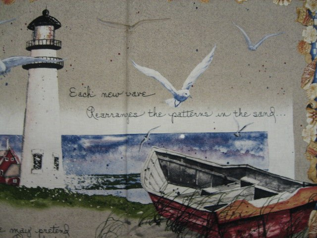 Image 0 of Lighthouse Boat sea gulls shells ocean fabric wall panel to sew //